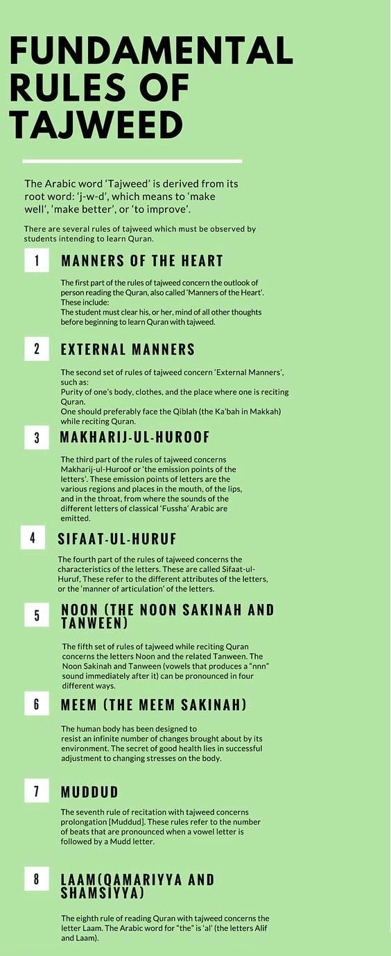 Basic rules of tajweed (infographic)- Almuhammadi Academy