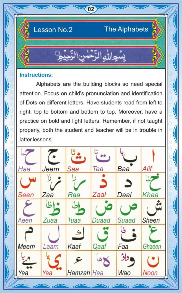 Noorani Qaida Page2 – Lesson 1